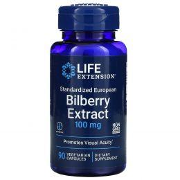 Life Extension, Стандартизованный в Европе экстракт черники, 100 мг, 90 вегетарианских капсул