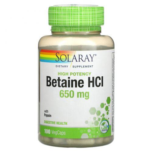 Solaray, HCL с пепсином, 650 мг, 100 вегетарианских капсул