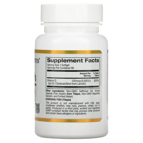 California Gold Nutrition, Витамин D3, 5000 IU, 90 рыбных желатиновых капсул