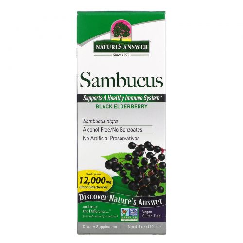 Nature's Answer, Sambucus, экстракт черной бузины, 5 000 мг, 4 жидких унции (120 мл)