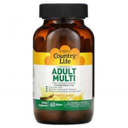 Country Life, Adult Multi, жевательные мультивитамины для взрослых, со вкусом ананаса и апельсина, 60 пастилок