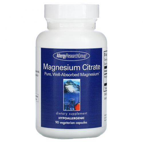 Allergy Research Group, Магния цитрат, 90 растительных капсул