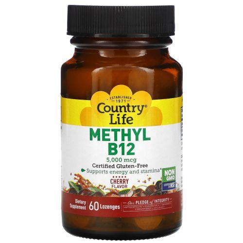 Country Life, Метил B12, со вкусом вишни, 5000 мкг, 60 леденцов