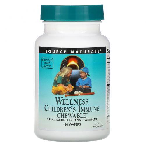 Source Naturals, Wellness, Детские Жевательные Витамины для Имунной Системы 30 конфет