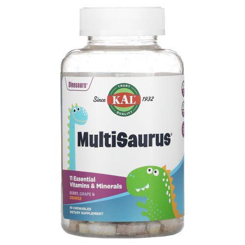 KAL, Dinosaurs, MultiSaurus Vitamins & Minerals, Berry, Grape & Orange, 90 Chewables