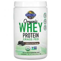 Garden of Life, Органический сывороточный протеин из молока коров, выкормленных травой, какао, 14,03 унц. (397,5 г)