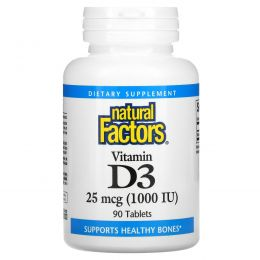 Natural Factors, Витамин D3, 1000 МЕ, 90 таблеток