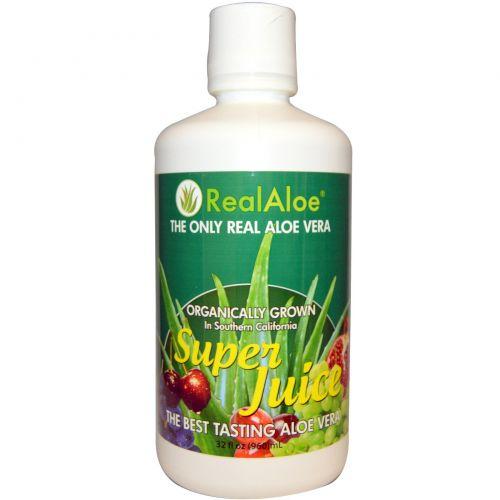 Real Aloe Inc., Супер сок Алоэ Вера, 32 жидких унций (960 мл)