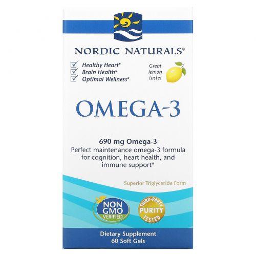 Nordic Naturals, Омега-3, с лимонным вкусом, 690мг, 60 капсул