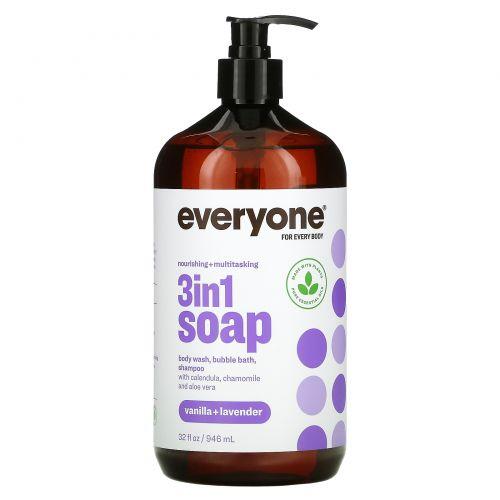 Everyone, 3 In 1 Soap, Body Wash, Bubble Bath, Shampoo, Vanilla + Lavender, 32 fl oz (946 ml)