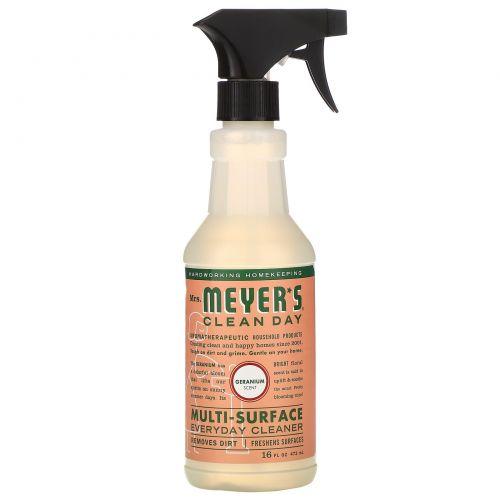 Mrs. Meyers Clean Day, Средство для очищения различного рода поверхностей, с запахом герани, 16 жидких унций (473 мл)