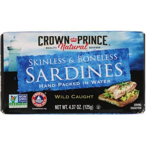 Crown Prince Natural, Сардины, без шкурки и костей, в собственном соку, расфасованы вручную, 125 г