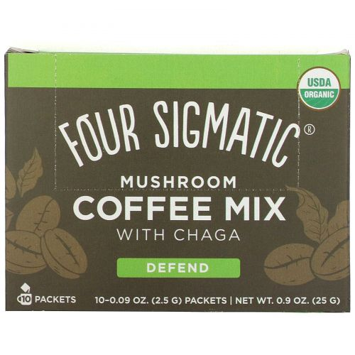 Four Sigmatic, Mushroom Coffee Mix, 10 Packets, 0.09 oz (2.5 g) Each