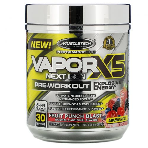 Muscletech, VaporX5 Next Gen, Pre-Workout, Fruit Punch Blast, 9.28 oz (263 g)