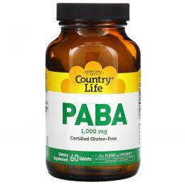 Country Life, PABA, Постепенное высвобождение, 1000 мг, 60 таблеток