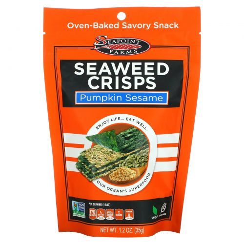 Seapoint Farms, Хрустящие морские водоросли, тыквенные семечки и кунжут, 1,2 унции (35 г)