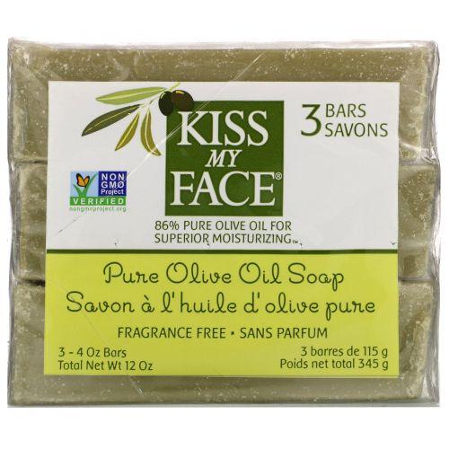 Kiss My Face, мыло с чистым оливковым маслом, без отдушек, 3бруска по 115г (4 унции) каждый