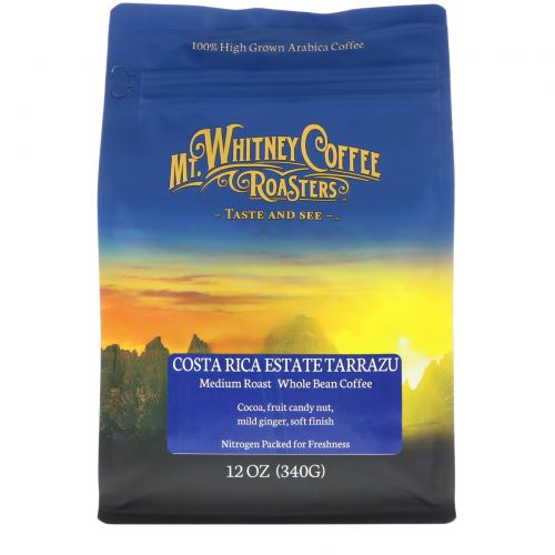 Mt. Whitney Coffee Roasters, Costa Rica Estate Tarrazu, жарка Medium Plus, кофе в зернах, 12 унц. (340 г.)