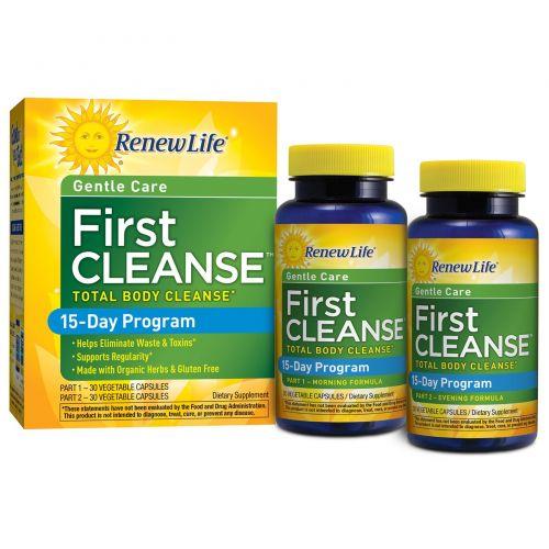 Renew Life, First Cleanse, 2 флакона, по 30 вегетарианских капсул в каждом
