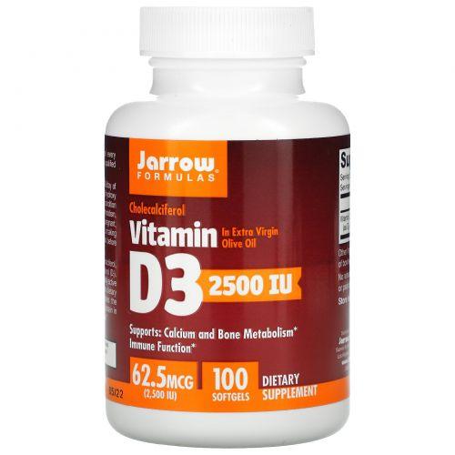 Jarrow Formulas, Витамин D3, 2500 МЕ, 100 гелевых  капсул