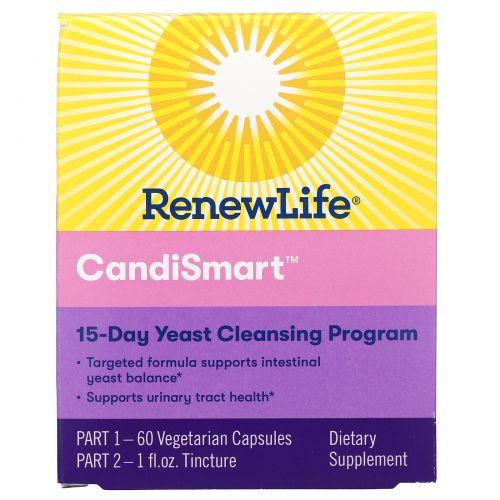 Renew Life, CandiGone, мощная программа очищения от грибков, 60 вегетарианских капсул, настойка из 1 жидкой унции