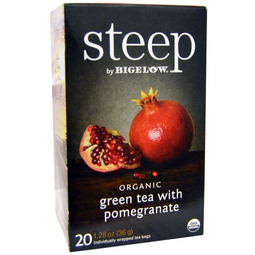 Bigelow, Стип, органический зеленый чай с гранатом, 20 пакетиков, 1,28 унции (36 г)