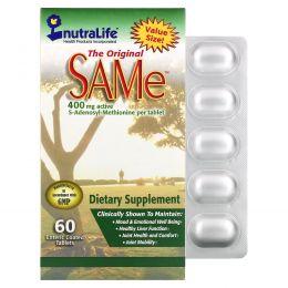"""NutraLife, """"Оригинальный SAMe"""" (S-аденозилметионин), 400 мг, 60 покрытых оболочкой кишечнорастворимых овальных таблеток"""