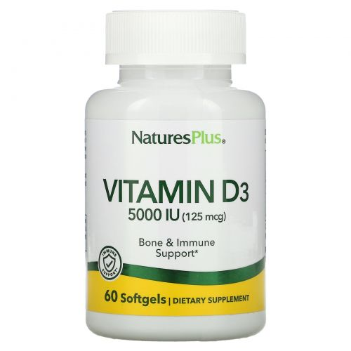 Nature's Plus, Витамин D3, 5000 МЕ, 60 мягких желатиновых капсул