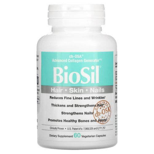 BioSil by Natural Factors, Биосил, CH-OSA улучшенный генератор коллагена , 60 вегетарианских капсул