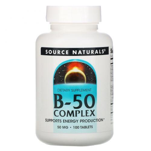 Source Naturals, Комплекс B-50, 50 мг, 100 таблеток