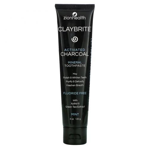 Zion Health, ClayBrite, Зубная паста с активированным углем, Натуральный мятный вкус, 4 унц. (120 г)