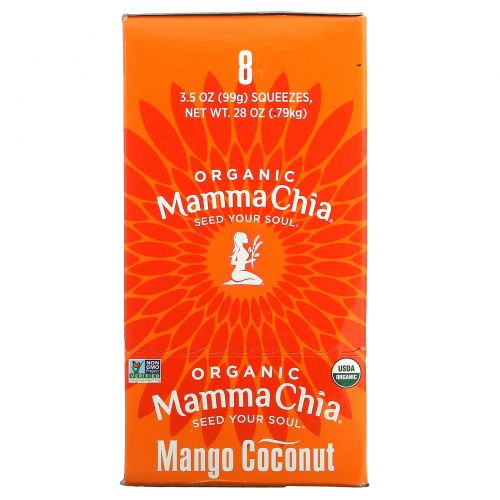 Mamma Chia, Органический сок чиа, энергетическая закуска, манго-кокос, 8 пачек, 3.5 унции (99 г) шт.