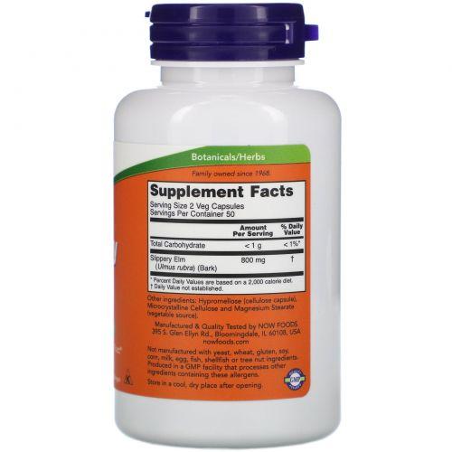 Now Foods, Скользкий вяз, 400 мг, 100 капсул