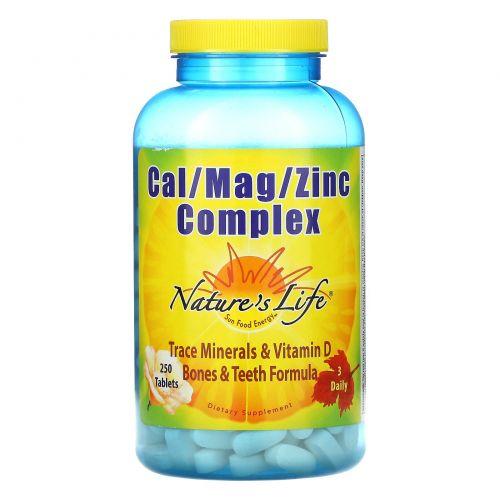 Nature's Life, Комплекс кальция/магния/цинка, 250 таблеток