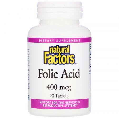 Natural Factors, Фолиевая кислота, 400 мкг, 90 таблеток