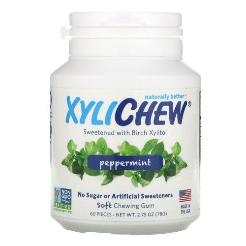 Xylichew Gum, Жевательная резинка, подслащенная березовым ксилитом, перечная мята, 60 штук, 2,75 унций (78 г)