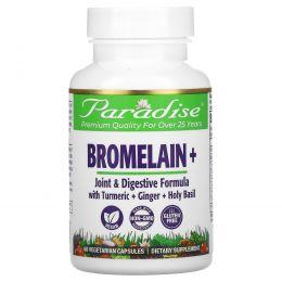 Paradise Herbs, Бромелайн, формула для суставов и пищеварения, 500 мг, 60 вегетарианских капсул
