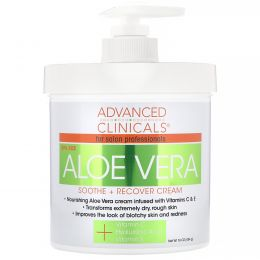 Advanced Clinicals, Aloe Vera, Soothe + Recover Cream, 16 oz (454 g)