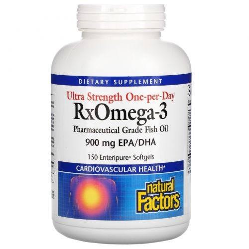 Natural Factors, Ultra Strength RxOmega-3, 150 желатиновых капсул Enteripure