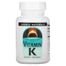 Source Naturals, Витамин K, 500 мкг, 200 таблеток