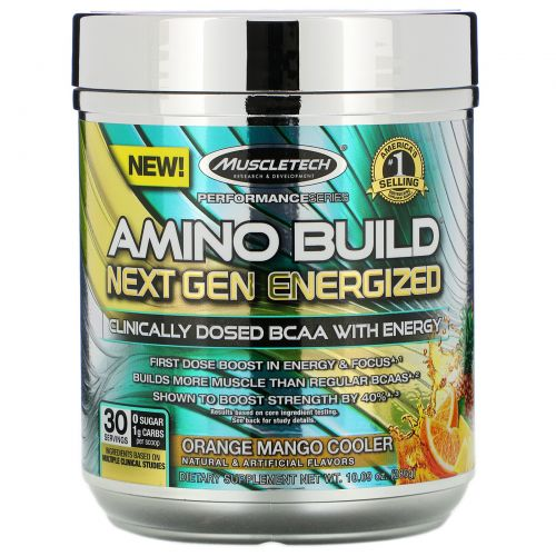 Muscletech, Amino Build Next Gen Energized, Orange Mango Cooler, 281 г (9,92 унции)