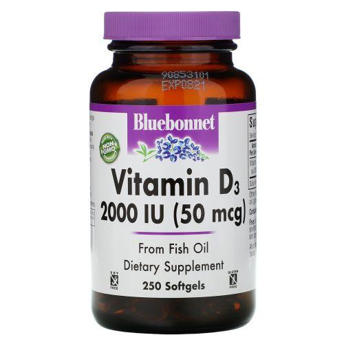 Bluebonnet Nutrition, Витамин D3, 2000 МЕ, 250 желатиновых капсул