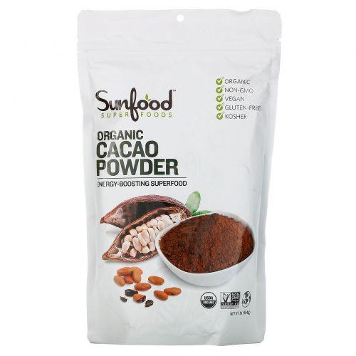 Sunfood, Органический необработанный какао-порошок, 454 г