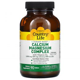 Country Life, Кальцие-магниевый комплекс, с витамином D3, 90 таблеток