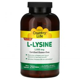 Country Life, L-лизин, 1000 мг, 250 таблеток