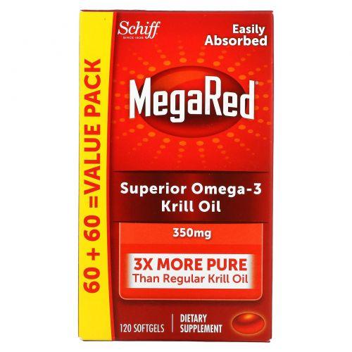 Schiff, MegaRed, масло морского криля высшего качества с омега-3, 350 мг, 120 мягких таблеток