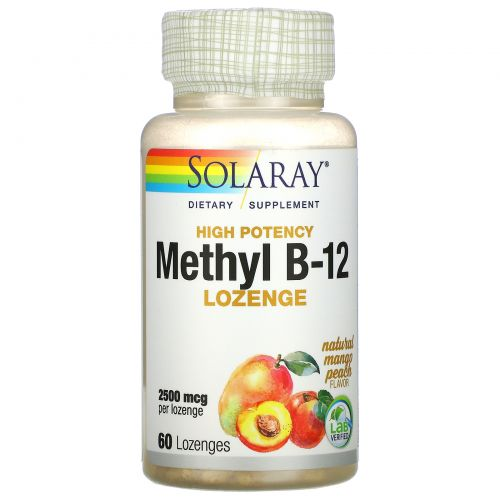 Solaray, Высокоэффективный метил с B-12, натуральное манго и персик, 2500 мкг, 60 пастилок