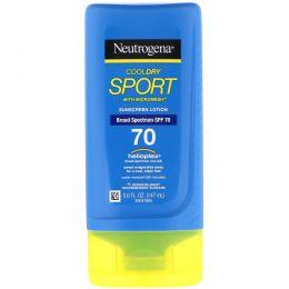 Neutrogena, Кул Драй Спорт, с микросеткой, солнцезащитный лосьон, фактор защиты от солнца SPF 70, 5 жидк. унц. (147 мл)