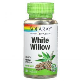 Solaray, Кора ивы серебристой, 400 мг, 100 легко глотаемых капсул
