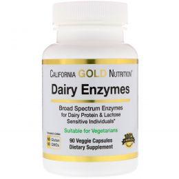 California Gold Nutrition, молочные ферменты, для молочных белков и лактозы, 90 вегетарианских капсул
